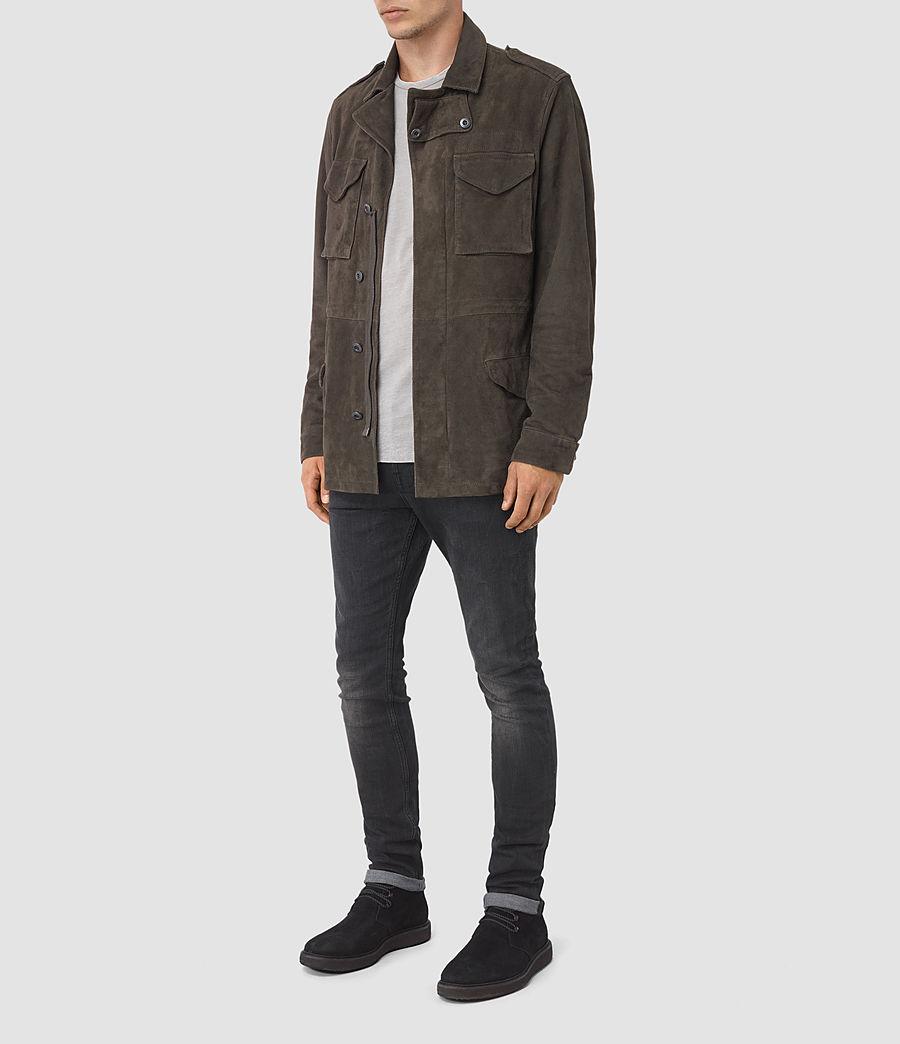 Mens Forter Suede Jacket (dark_khaki_green) - Image 2