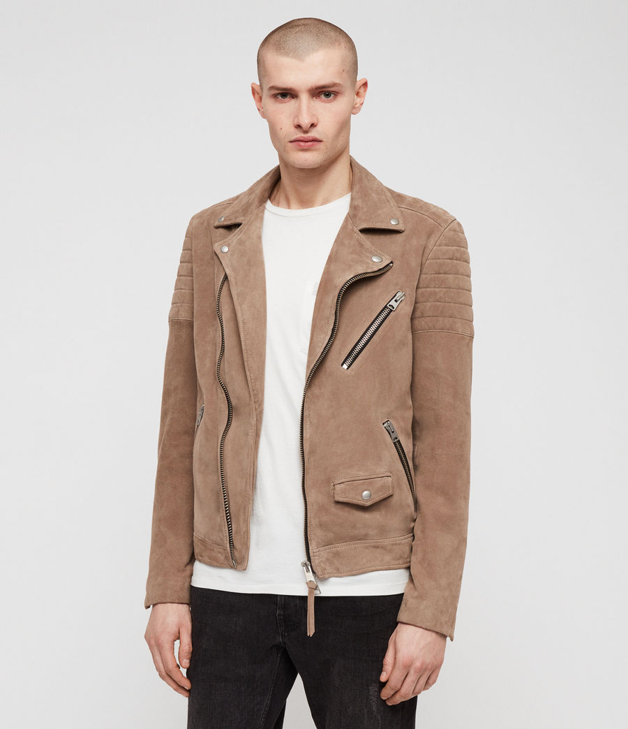 Mens Leo Suede Biker Jacket (taupe_brown) - Image 1