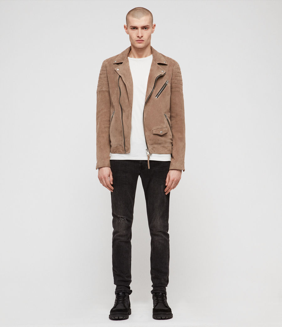 Mens Leo Suede Biker Jacket (taupe_brown) - Image 2