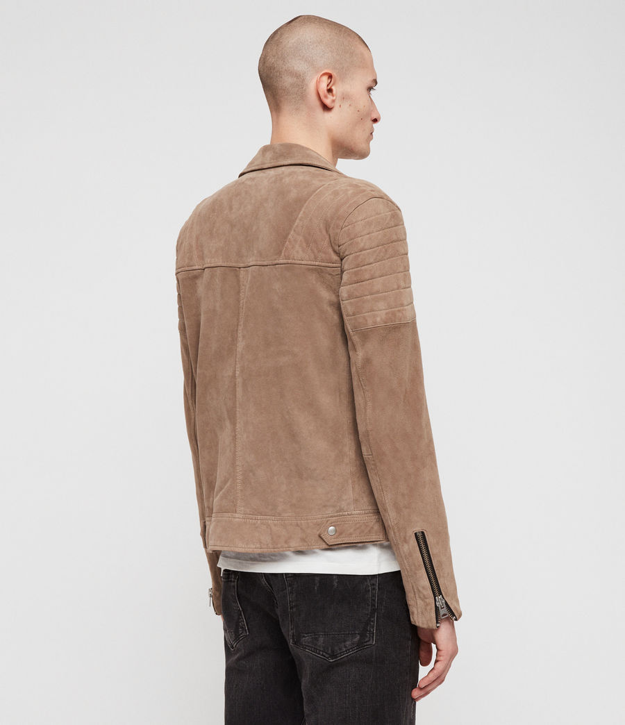 Mens Leo Suede Biker Jacket (taupe_brown) - Image 5