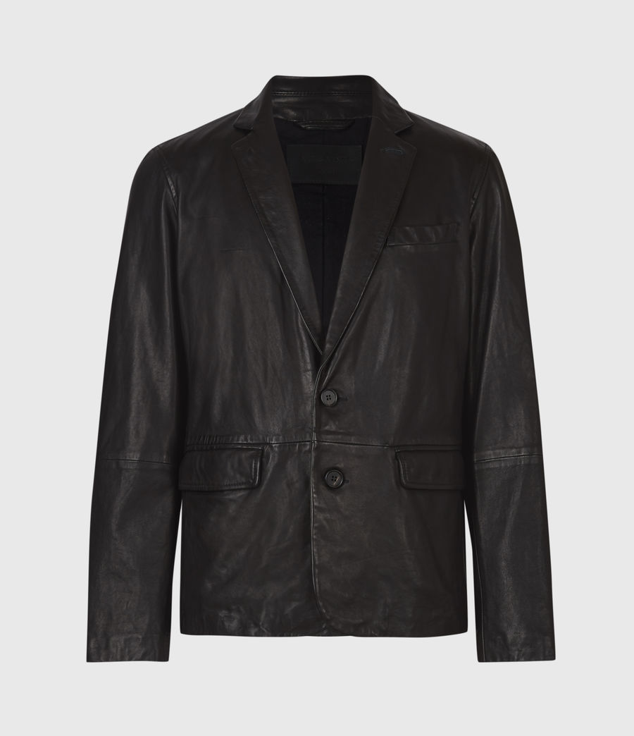 Mens Barton Leather Blazer (black) - Image 2