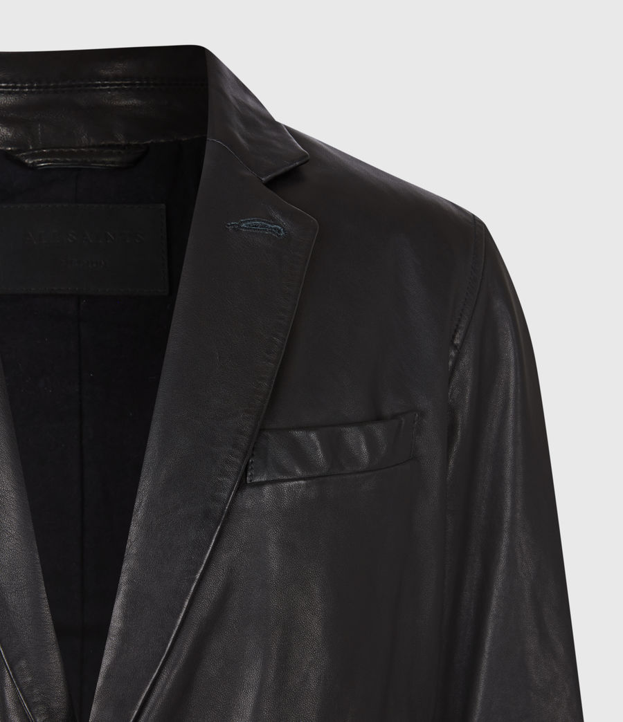Mens Barton Leather Blazer (black) - Image 4
