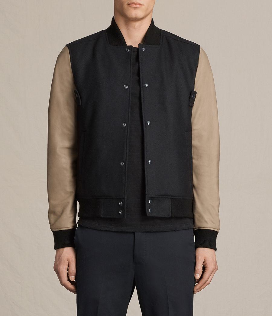 Mens Murray Leather Bomber Jacket (ink_navy) - Image 1