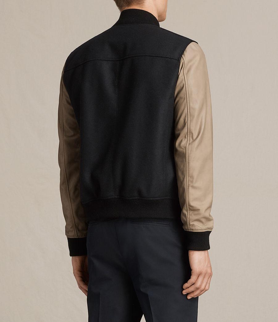 Mens Murray Leather Bomber Jacket (ink_navy) - Image 7
