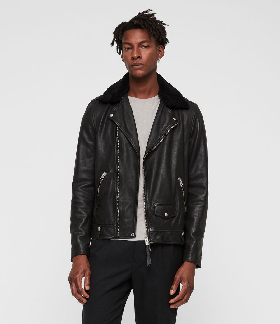 Mens Brett Leather Biker Jacket (black) - Image 1