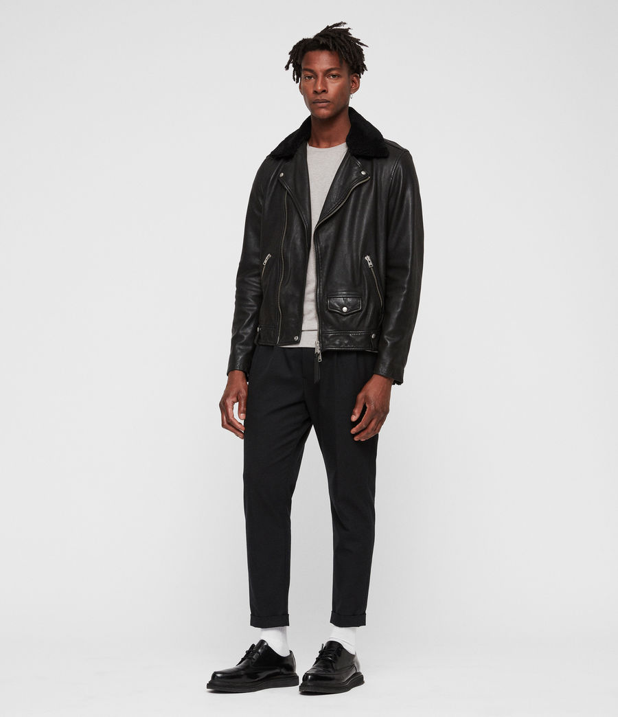 Men's Brett Leather Biker Jacket (black) - Image 3
