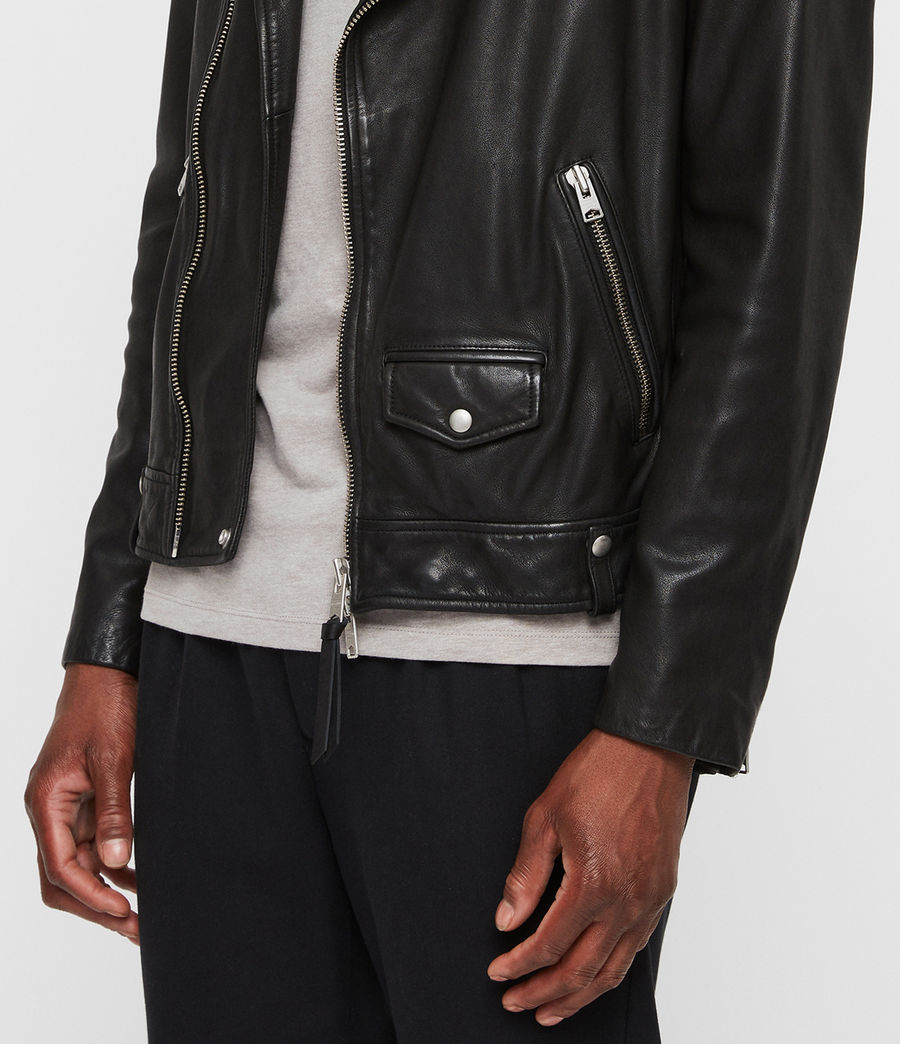Mens Brett Leather Biker Jacket (black) - Image 4