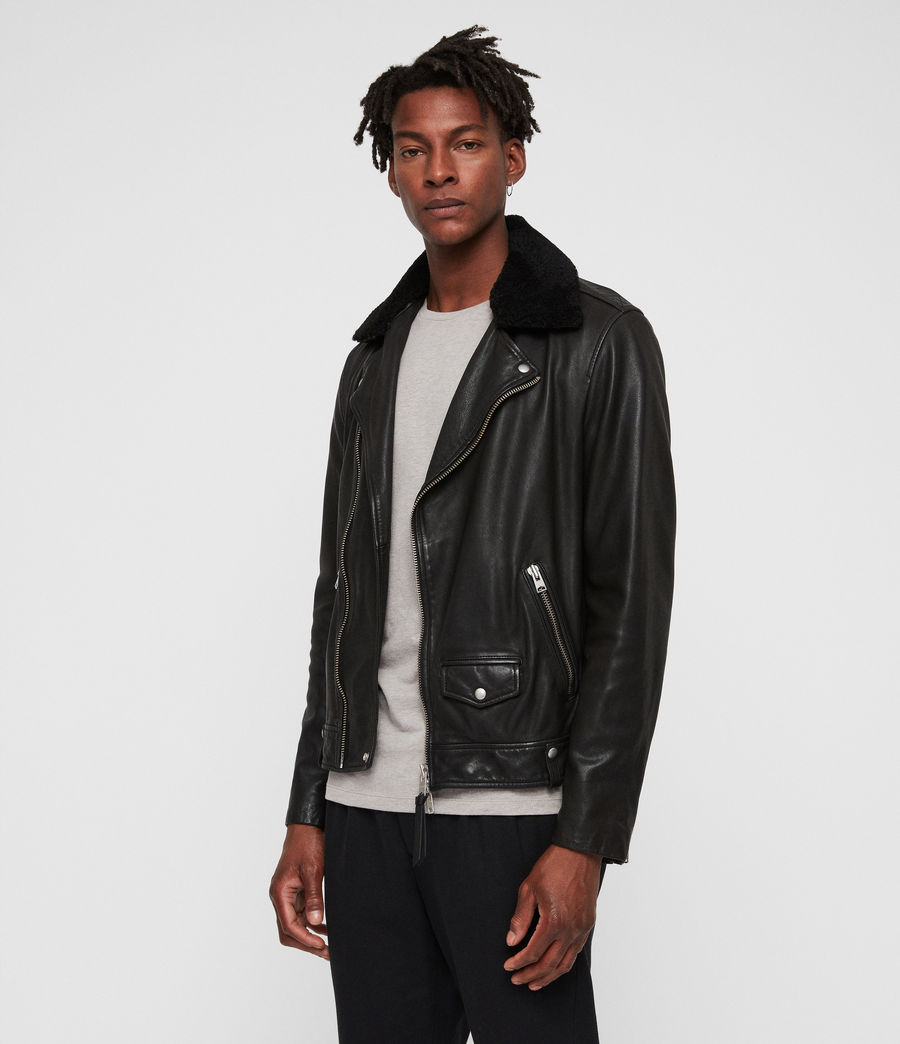 Men's Brett Leather Biker Jacket (black) - Image 5