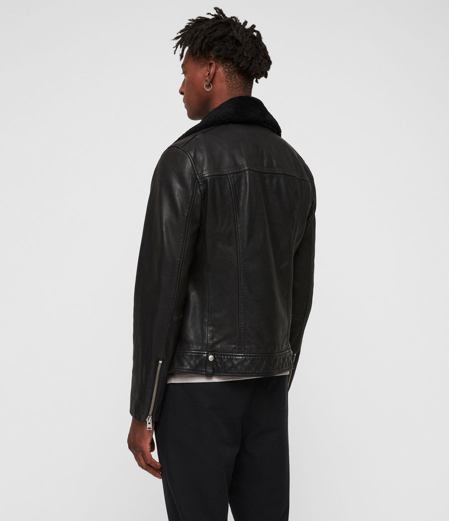 Mens Brett Leather Biker Jacket (black) - Image 6