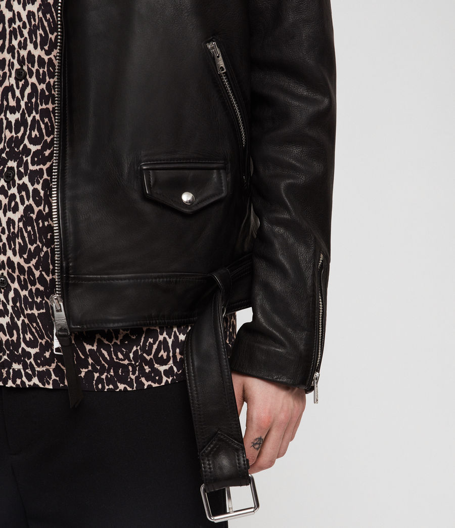Men's Manor Leather Biker Jacket (black) - Image 3