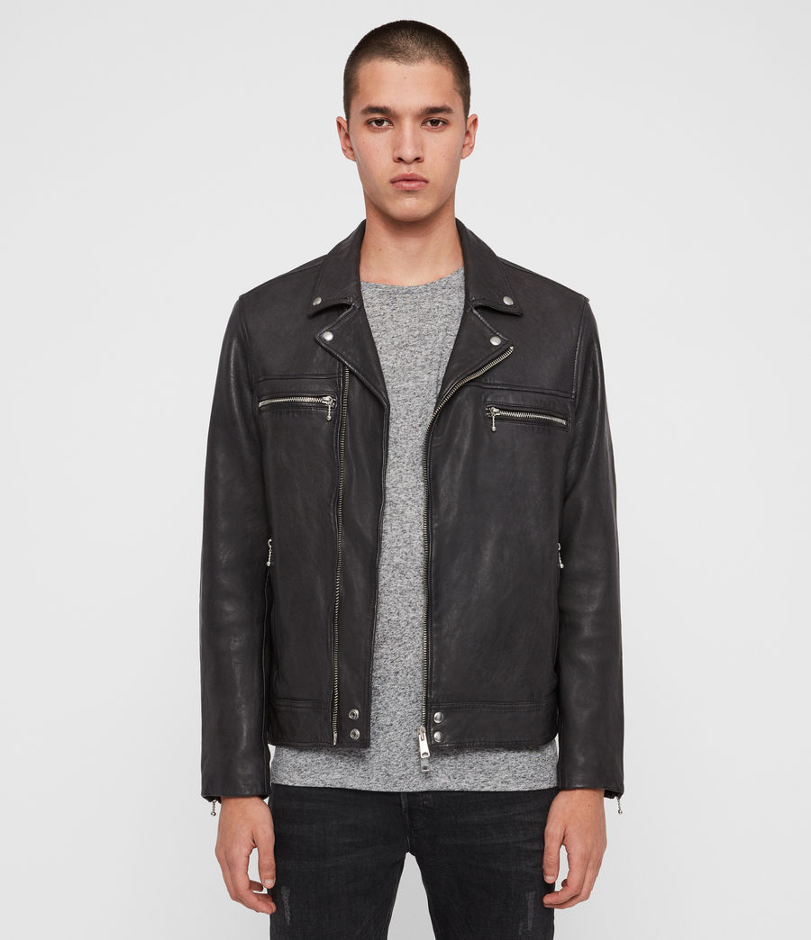 Mens Hearn Leather Biker Jacket (black) - Image 1