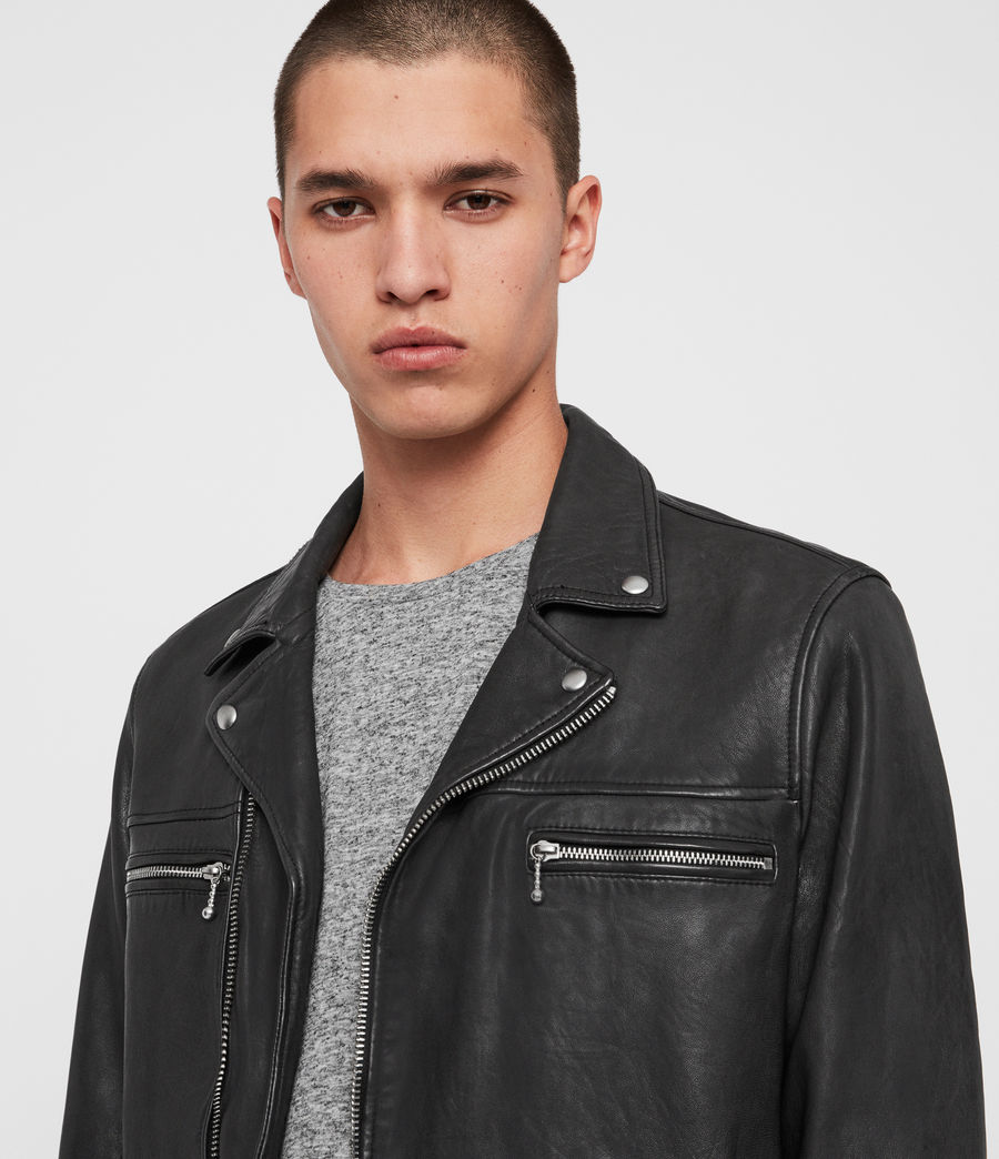 Mens Hearn Leather Biker Jacket (black) - Image 2