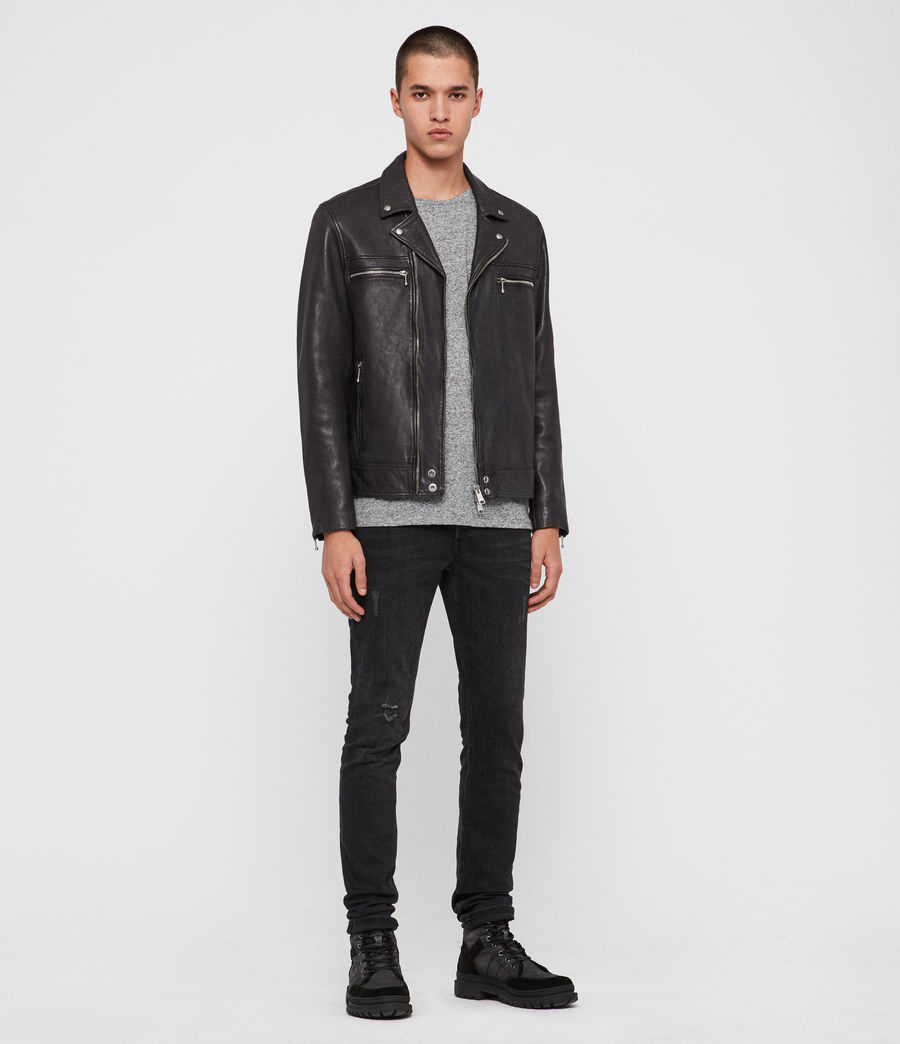 Men's Hearn Leather Biker Jacket (black) - Image 3