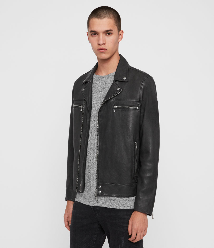 Mens Hearn Leather Biker Jacket (black) - Image 4