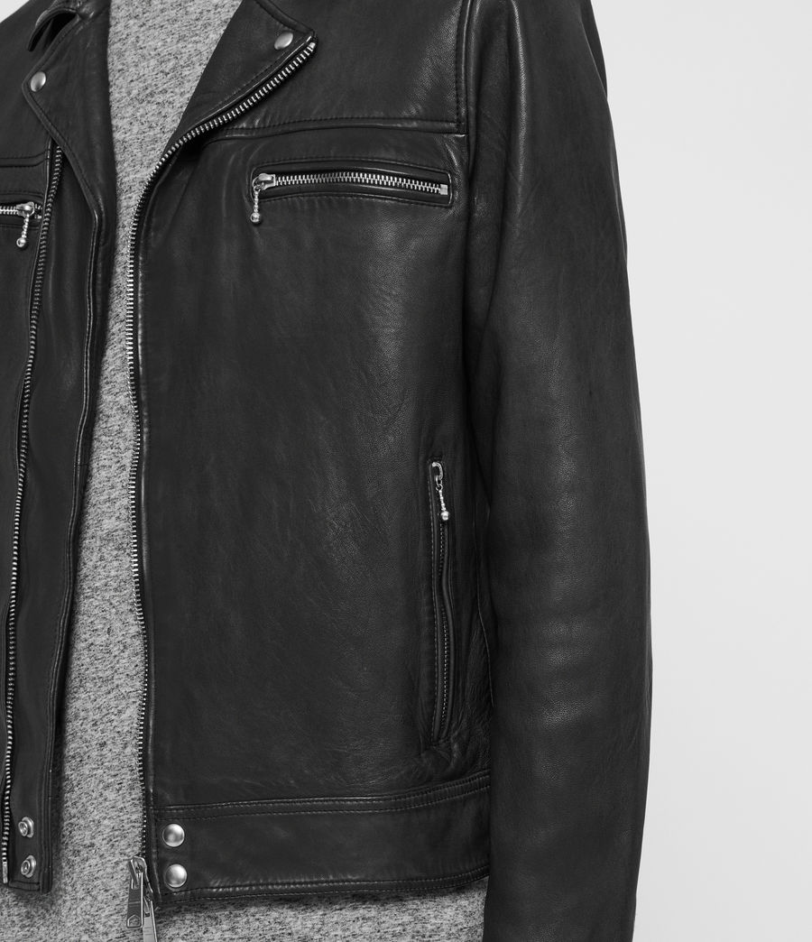 Mens Hearn Leather Biker Jacket (black) - Image 5
