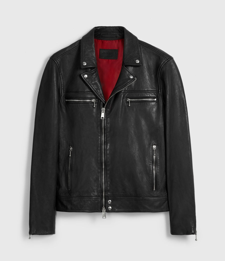 Mens Hearn Leather Biker Jacket (black) - Image 7
