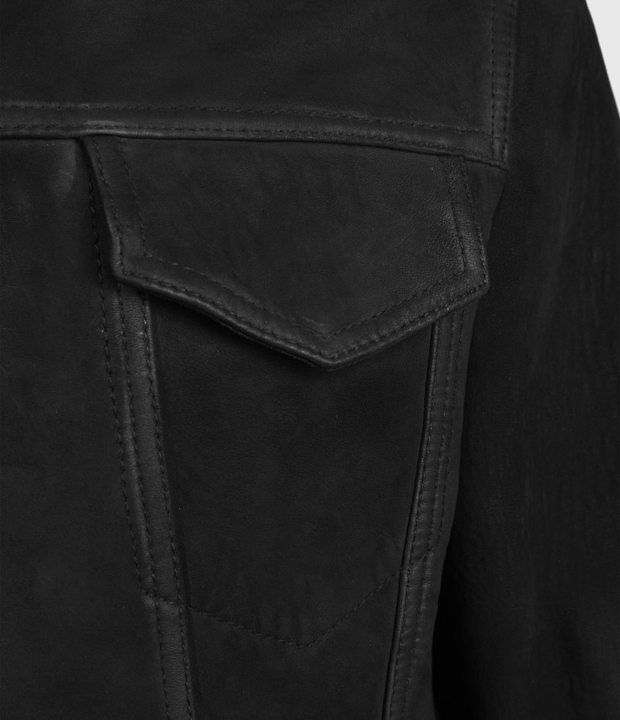 Mens Hazel Leather Jacket (black) - Image 4