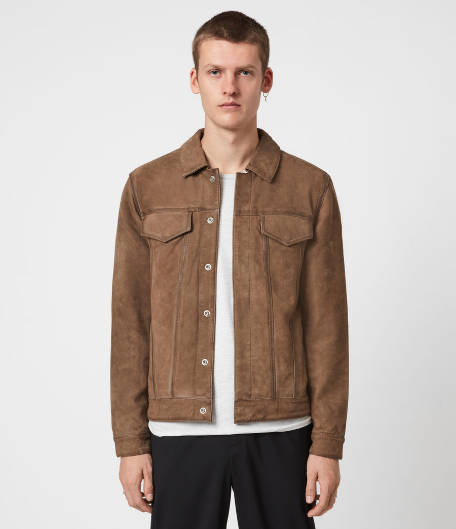 Mens Hazel Leather Jacket (light_grey_vintage) - Image 1