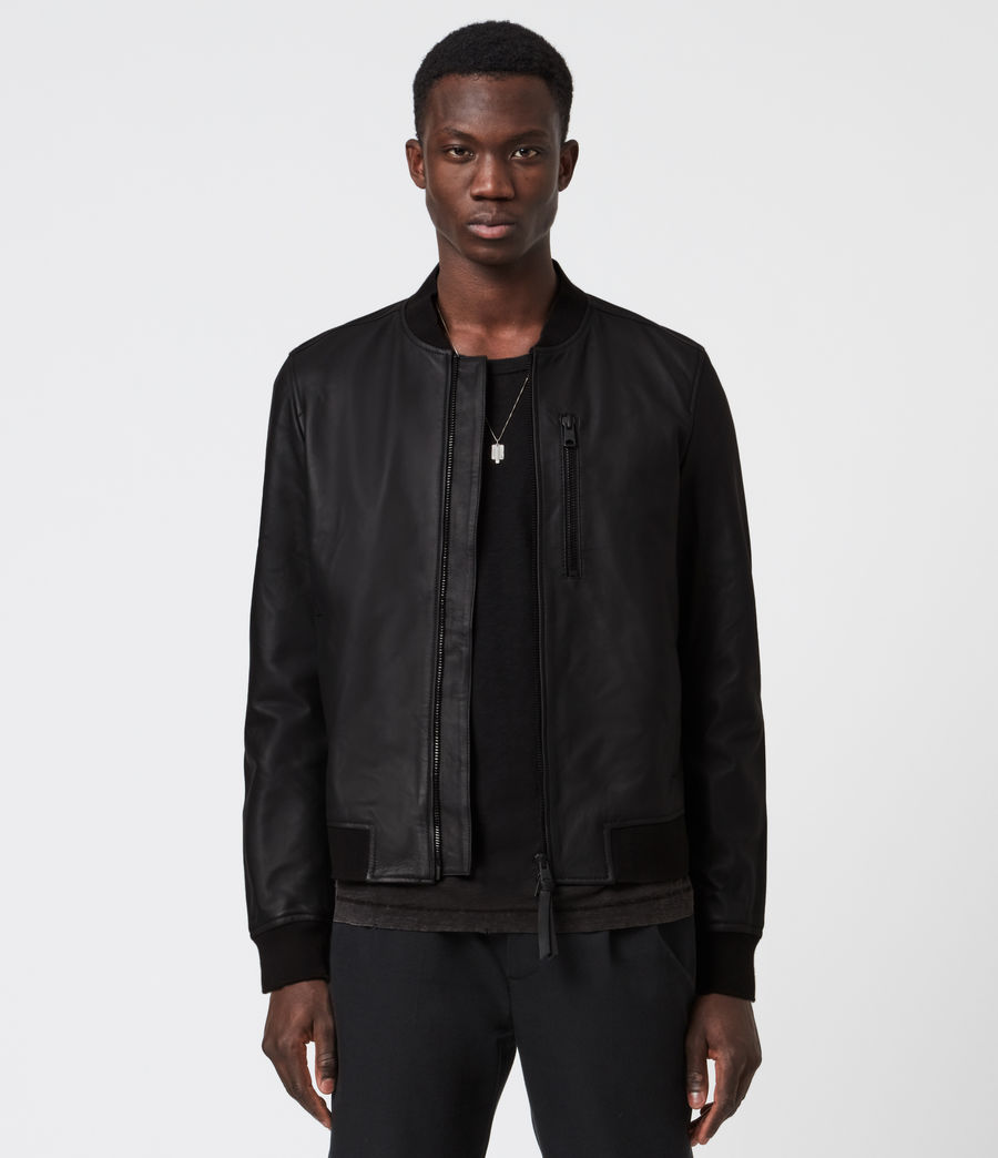 Mens Ivor Leather Bomber Jacket (black) - Image 1