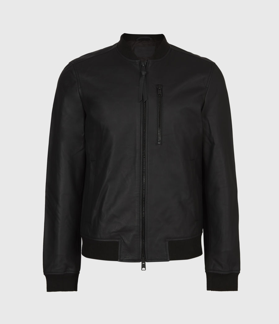 Mens Ivor Leather Bomber Jacket (black) - Image 2