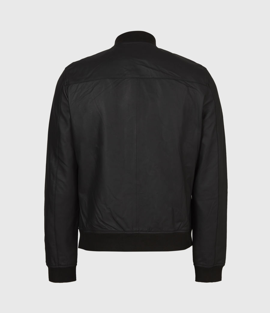 Men's Ivor Leather Bomber Jacket (black) - Image 3