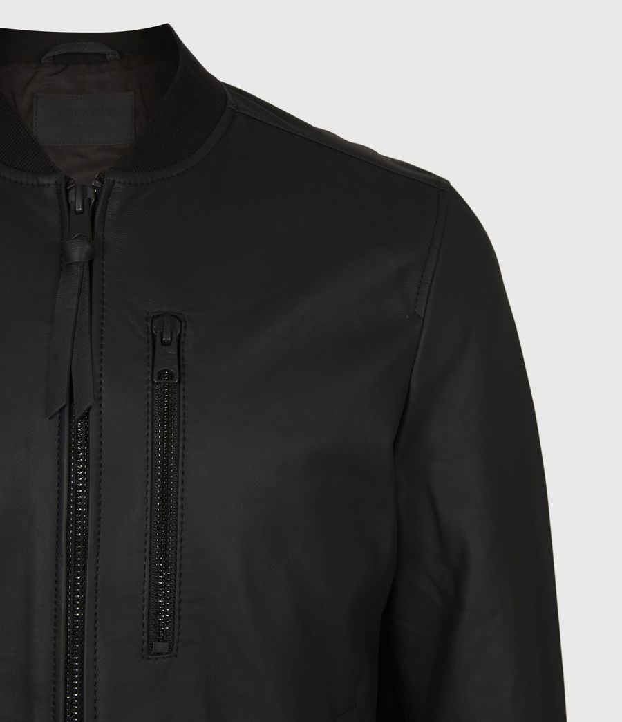 Mens Ivor Leather Bomber Jacket (black) - Image 5