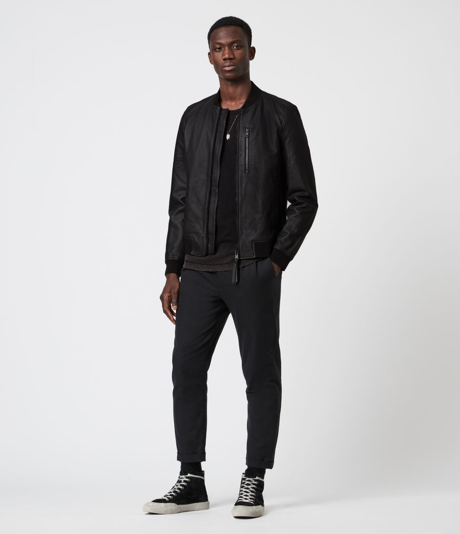Men's Ivor Leather Bomber Jacket (black) - Image 6