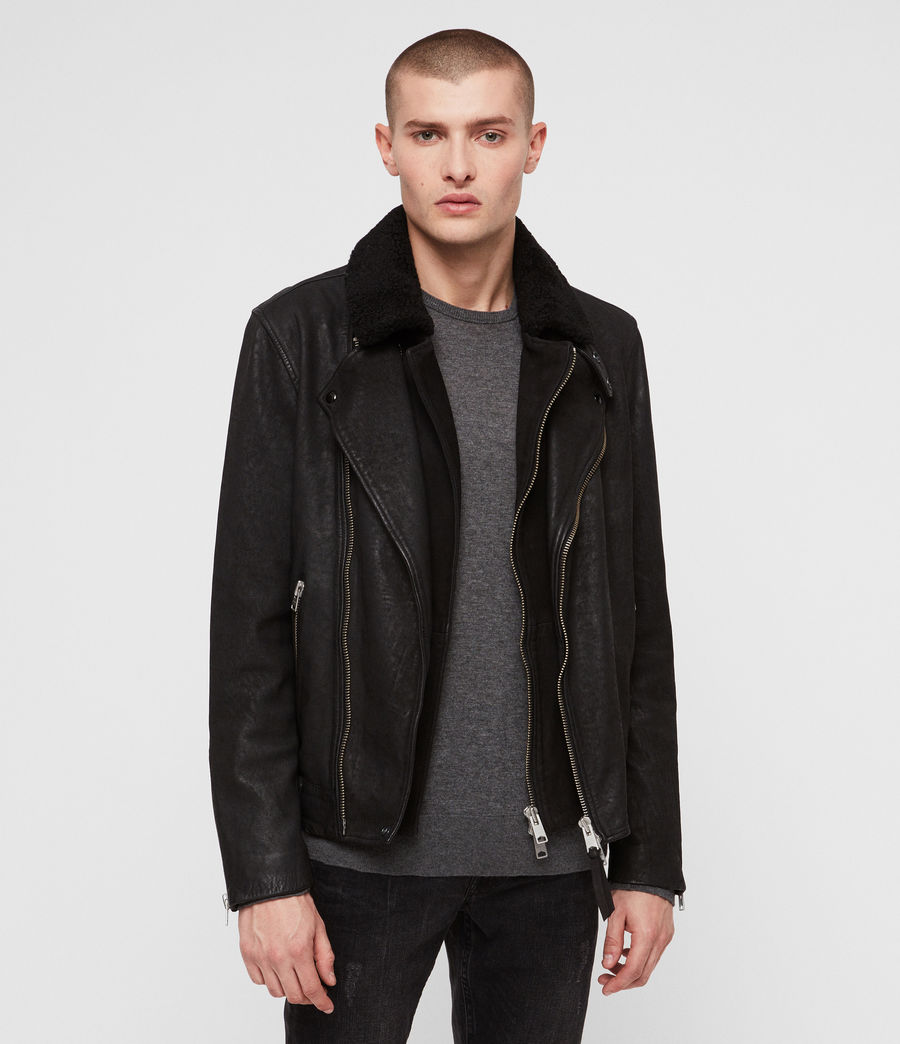 Mens Hanoi Leather Biker Jacket (black) - Image 1