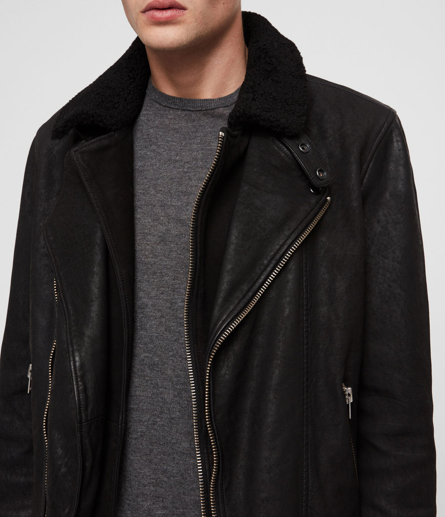 Mens Hanoi Leather Biker Jacket (black) - Image 2