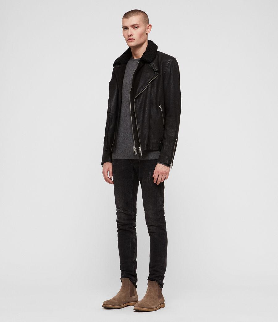 Mens Hanoi Leather Biker Jacket (black) - Image 3