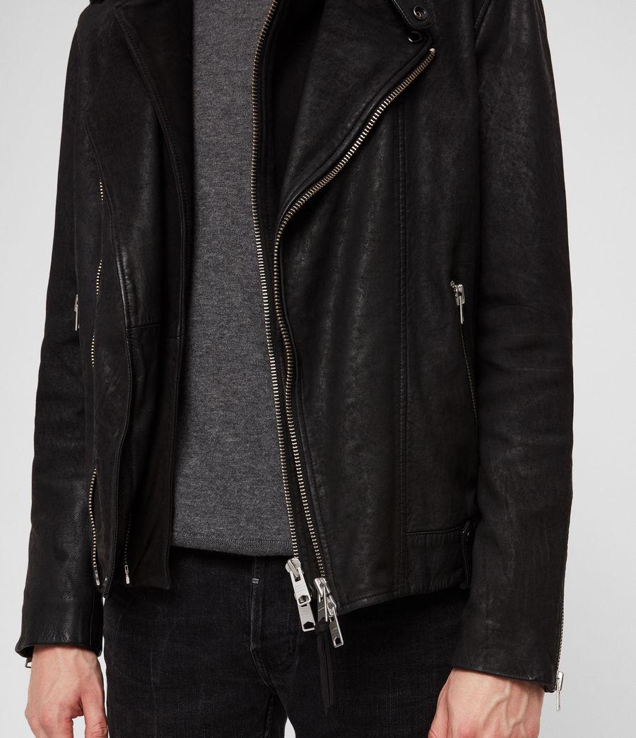 Mens Hanoi Leather Biker Jacket (black) - Image 4