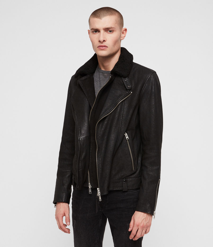 Mens Hanoi Leather Biker Jacket (black) - Image 5