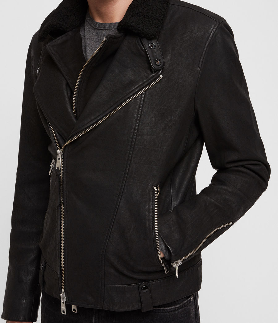 Mens Hanoi Leather Biker Jacket (black) - Image 6