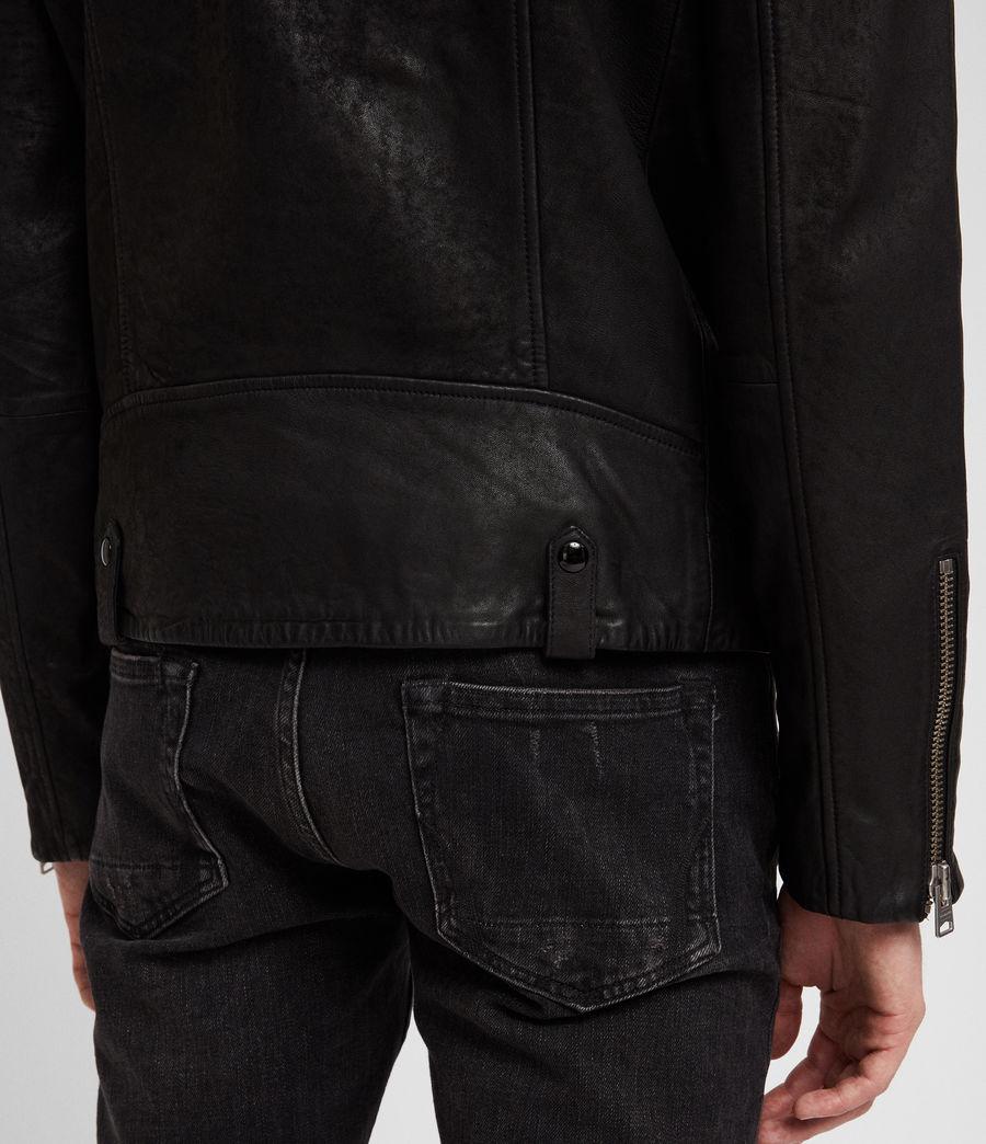 Men's Hanoi Leather Biker Jacket (black) - Image 7