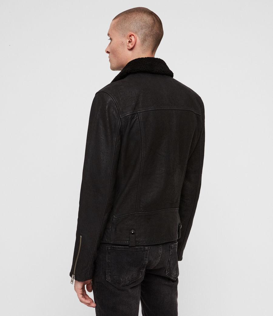 Mens Hanoi Leather Biker Jacket (black) - Image 8