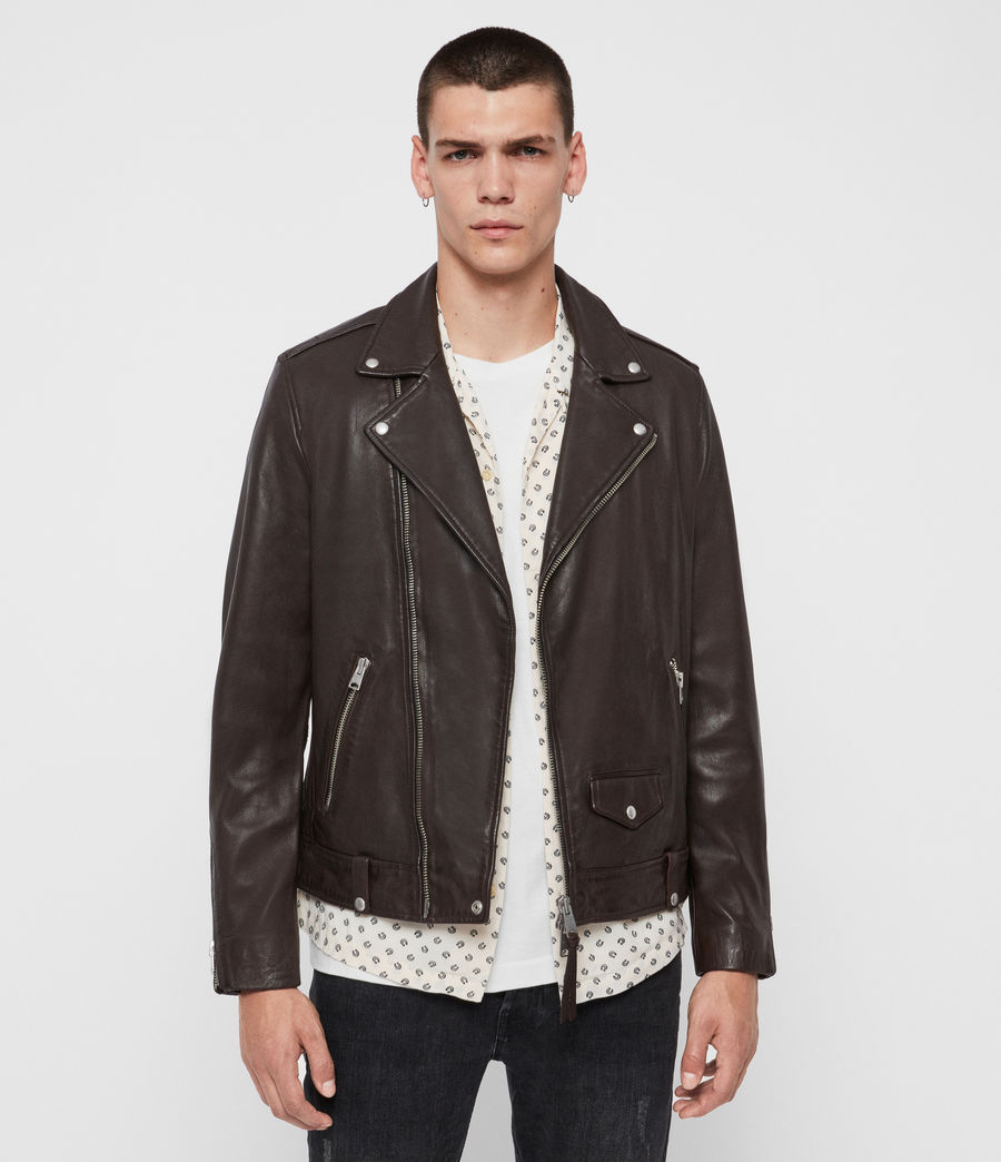 Mens Milo Leather Biker Jacket (oxblood_red) - Image 1
