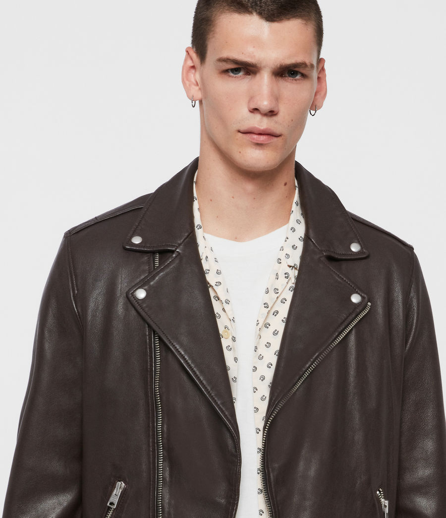 Mens Milo Leather Biker Jacket (oxblood_red) - Image 2