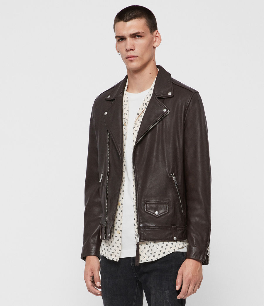 Mens Milo Leather Biker Jacket (oxblood_red) - Image 3