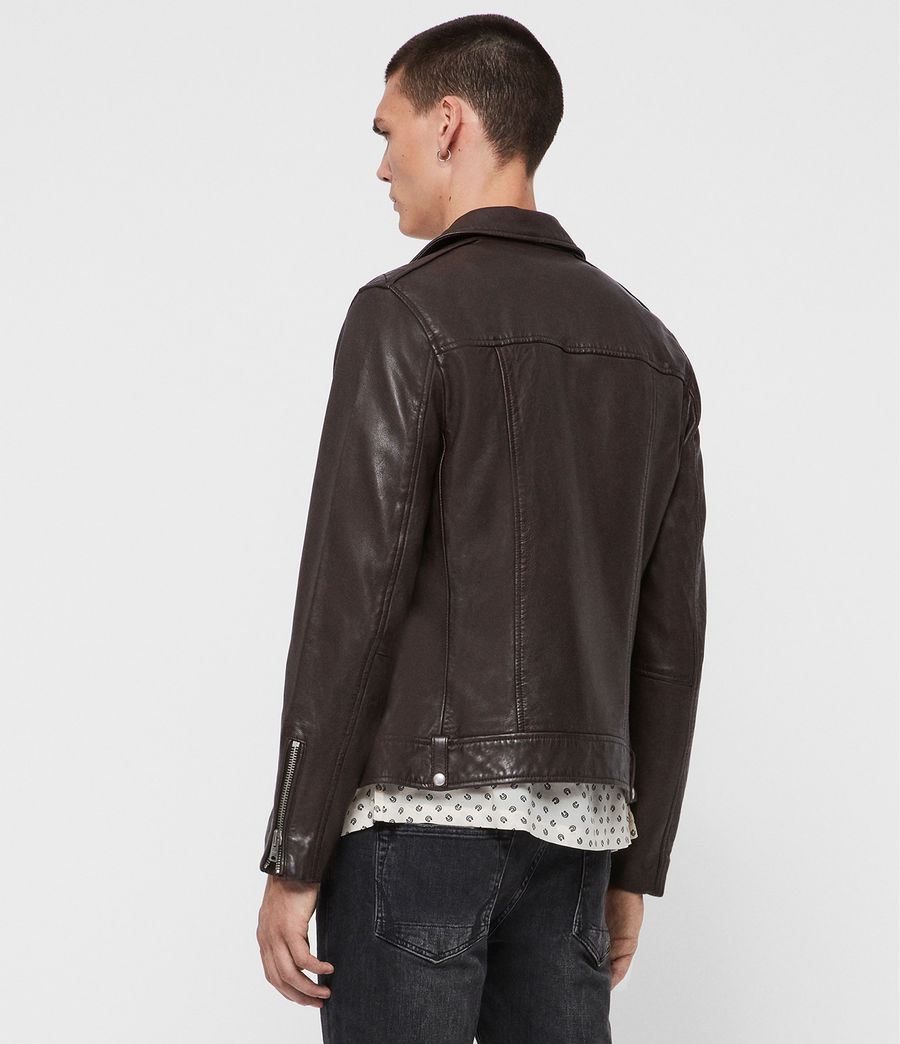 Mens Milo Leather Biker Jacket (oxblood_red) - Image 5