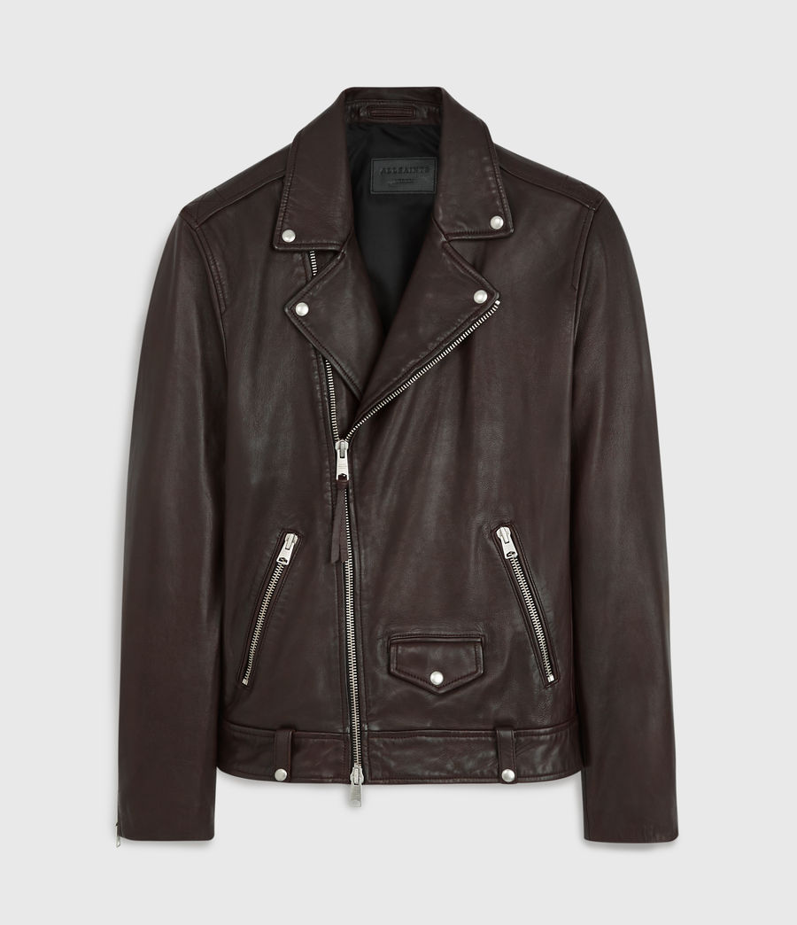 Mens Milo Leather Biker Jacket (oxblood_red) - Image 6