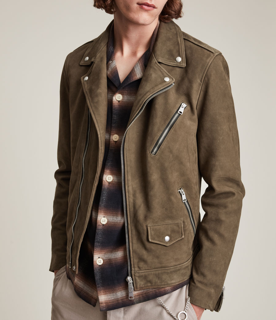 Men's Niles Leather Biker Jacket (khaki) - Image 2