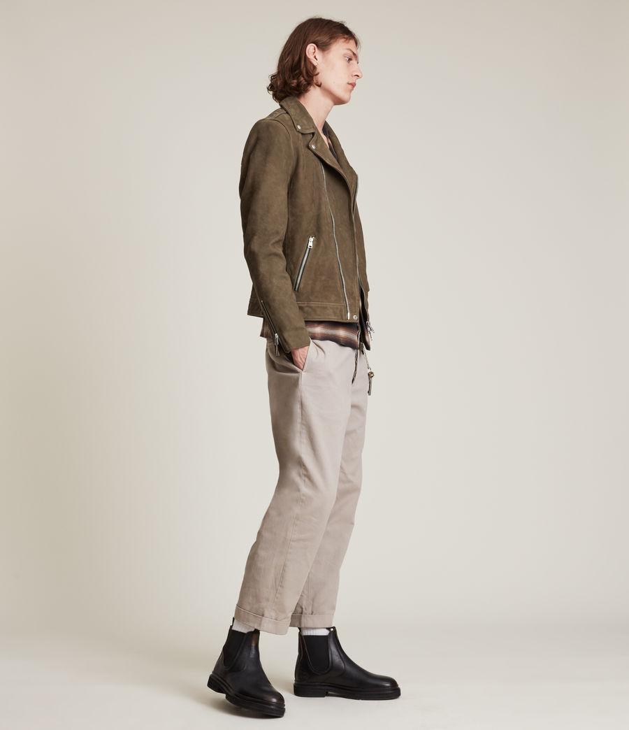 Men's Niles Leather Biker Jacket (khaki) - Image 4