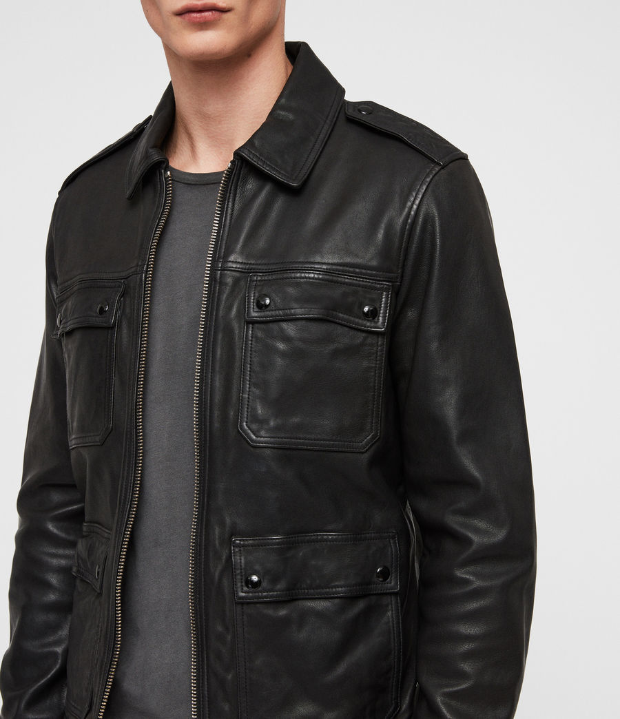 Mens Kage Leather Jacket (black) - Image 2