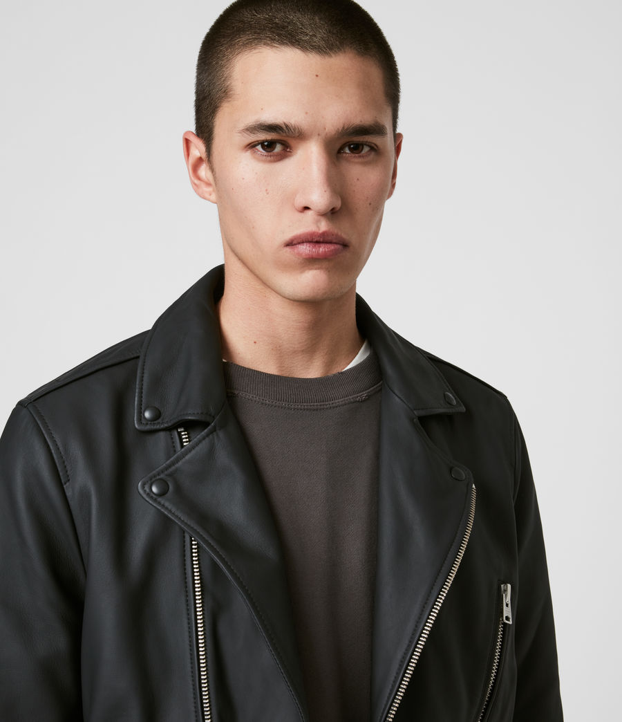 Men's Bloc Leather Biker Jacket (black) - Image 2