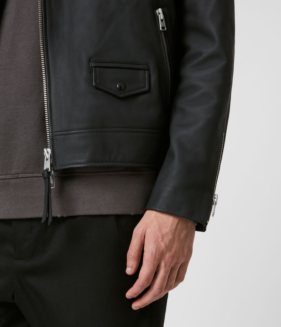 Men's Bloc Leather Biker Jacket (black) - Image 3