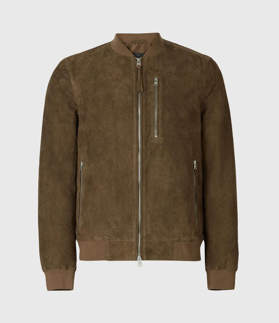 Mens Kemble Suede Bomber Jacket (khaki) - Image 4