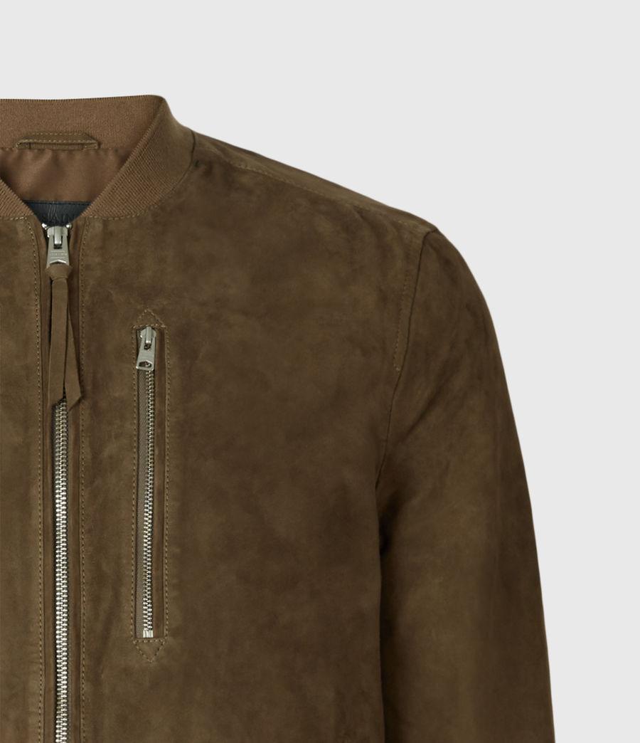 Mens Kemble Suede Bomber Jacket (khaki) - Image 7