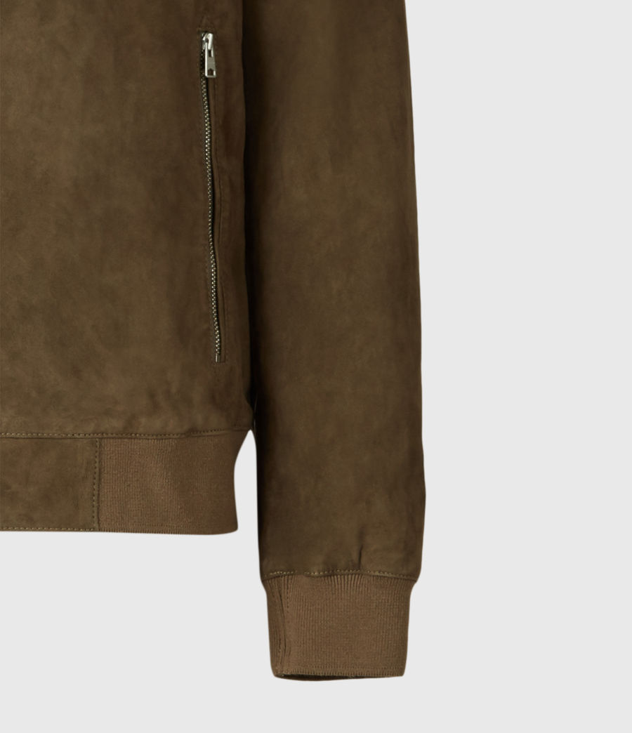 Mens Kemble Suede Bomber Jacket (khaki) - Image 1
