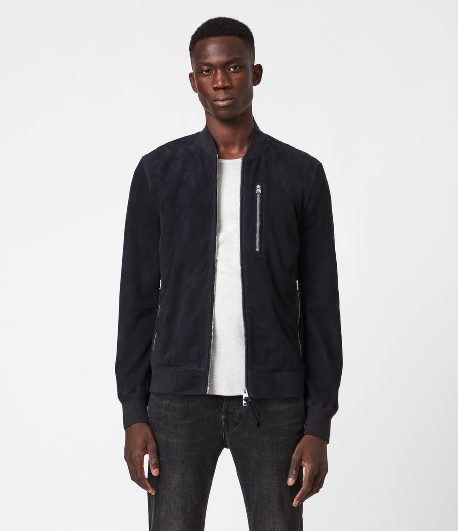 Men's Kemble Suede Bomber Jacket (ink) - Image 3