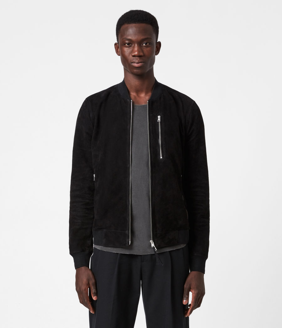 Men's Kemble Suede Bomber Jacket (black) - Image 1